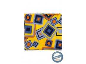 Žlutý hedvábný kapesníček s extravagantním vzorem