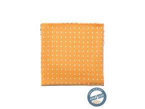 Žlutý hedvábný kapesníček s různými vzory