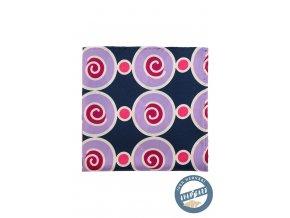 Modrý hedvábný kapesníček s barevným kruhovým vzorem