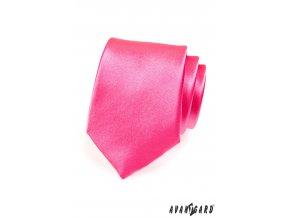 Středně růžová jednobarevná lesklá kravata