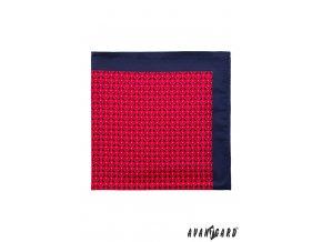 Červený  vzorovaný kapesníček s modrým okrajem