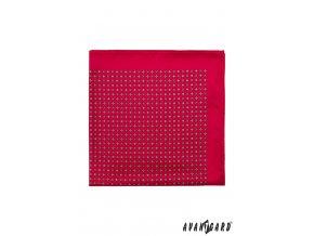 Červený kapesníček s drobným světlým vzorem
