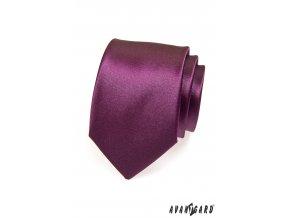 Tmavě fialová jednobarevná lesklá kravata