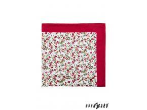 Červený kapesníček s drobnými kvítky