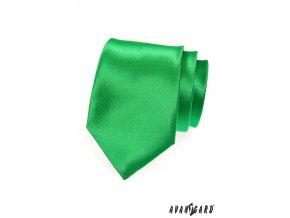 Zářivě zelená jednobarevná lesklá kravata