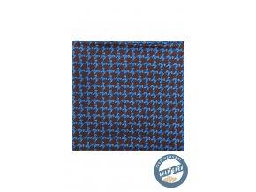 Hnědý hedvábný kapesníček s modrými psy