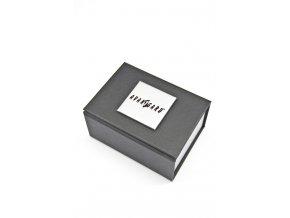 Stříbrná spona na kravatu s černými puntíky