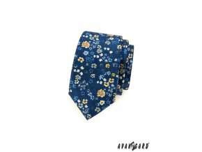 Modrá slim kravata s drobnými květinkami