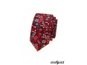 Bordó slim kravata s květinkami