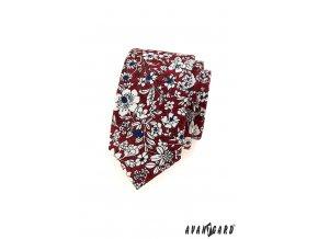 Bordó slim kravata s bílými květy