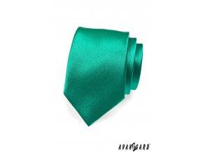 Tmavě zelená jednobarevná lesklá kravata