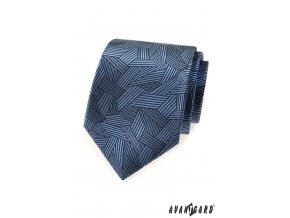 Modrá luxusní kravata se vzorem