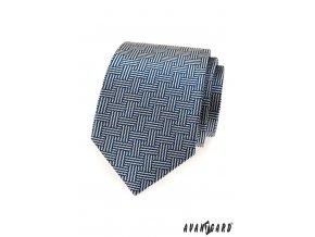 Modrá luxusní vzorovaná kravata