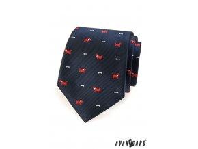 Tmavě modrá kravata se vzorem - pes