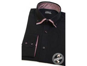 Černá pánská bavlněná košile REGULAR, dl.rukáv, 220-2312