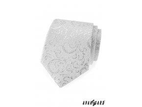 Stříbrná kravata se stříbrným vzorem