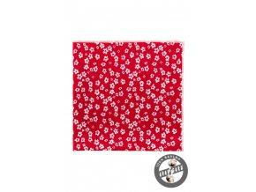 Červený kapesníček s bílými kvítky