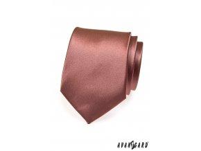 Hnědá jednobarevná lesklá kravata