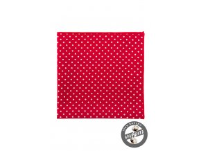 Červený kapesníček s drobnými bílými puntíky