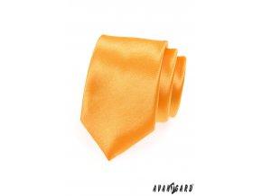 Žluto-oranžová jednobarevná lesklá kravata na zapínání
