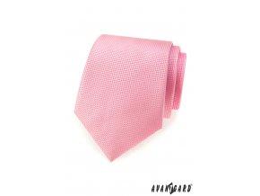 Růžová kravata s tečkovanou strukturou
