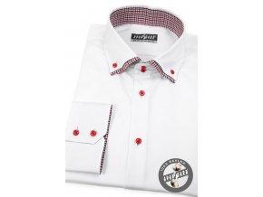 Bílá pánská slim fit košile, dl.rukáv, 109-0112