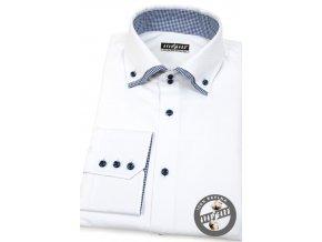 Bílá pánská bavlněná košile s modrými detaily, dl.rukáv, 520-0116