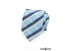 Světle modrá kravata s pruhy
