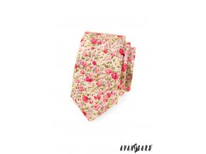 Světle pudrová slim kravata s květy