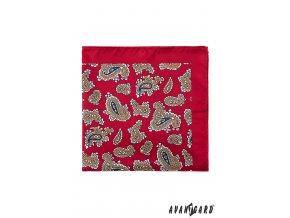 Červený kapesníček s výrazným vzorem