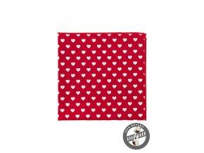 Červený bavlněný kapesníček s bílými srdíčky