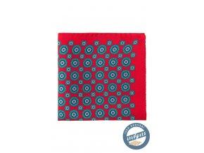 Červený kapesníček s tyrkysovým vzorem