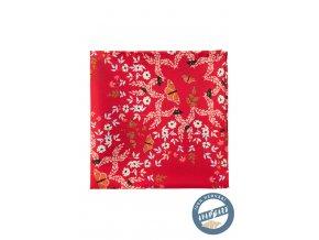 Červený kapesníček s bílým květovaným vzorem