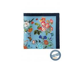 Modrý květovaný kapesníček s hrubým okrajem