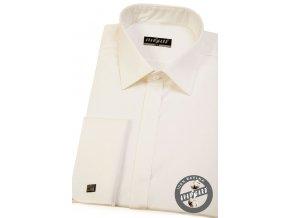 Smetanová pánská košile s krytou légou, na manž. knoflíčky, 516-222