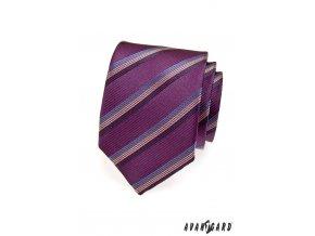 Fialová kravata s barevnými pruhy