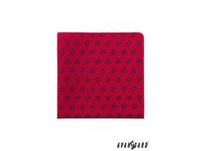 Červený luxusní kapesníček s tmavým vzorem