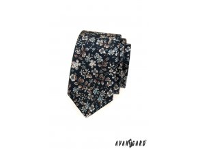 Velmi tmavě modrá kravata s drobnými květy