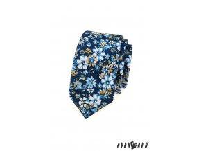 Tmavě modrá slim kravata s květy
