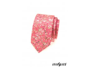 Korálová slim kravata s květy