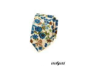 Smetanová slim kravata s modrými květy