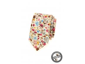 Smetanová bavlněná slim kravata s květy
