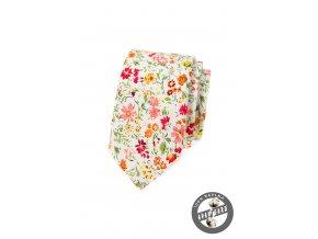 Bílá bavlněná slim kravata s květy
