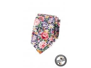 Barevná bavlněná slim kravata s květy