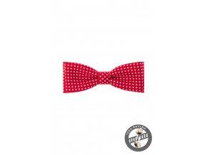 Červený bavlněný pánský motýlek s bílými hvězdičkami
