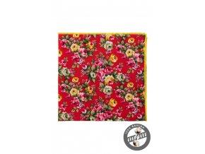 Červený kapesníček s růžemi