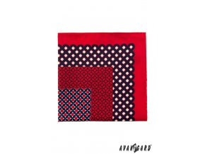 Červený kapesníček s modrým výrazným vzorem