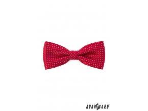 Červený motýlek s bílým jemným vzorem + kapesníček (12,5 cm)