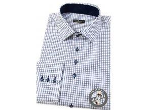 Bílá SLIM FIT košile s modrou mřížkou, dl.rukáv, 107-3431