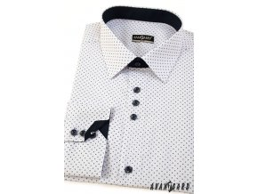 Bílá pánská slim fit košile se vzorem, dl. rukáv, 125-0164